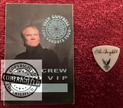 Scott Hoyt's guitar pick and VIP pass from Glen Campbell Goodbye Tour+FB.jpg