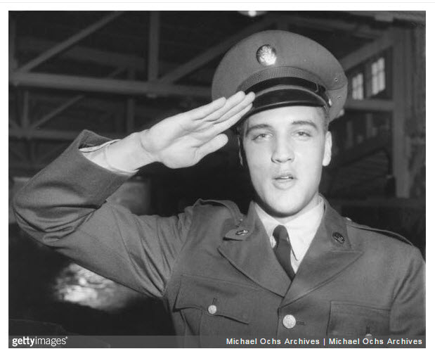 GERMANY_ FEB 1959_ Elvis Presley salutes for portrait during tour of duty in Germany_Photo by Michael Ochs Archives Getty Images.jpg